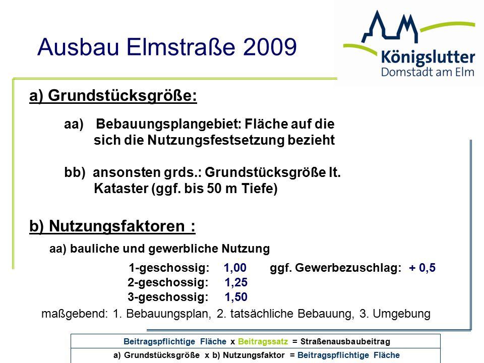 a) Grundstücksgröße: b) Nutzungsfaktoren :