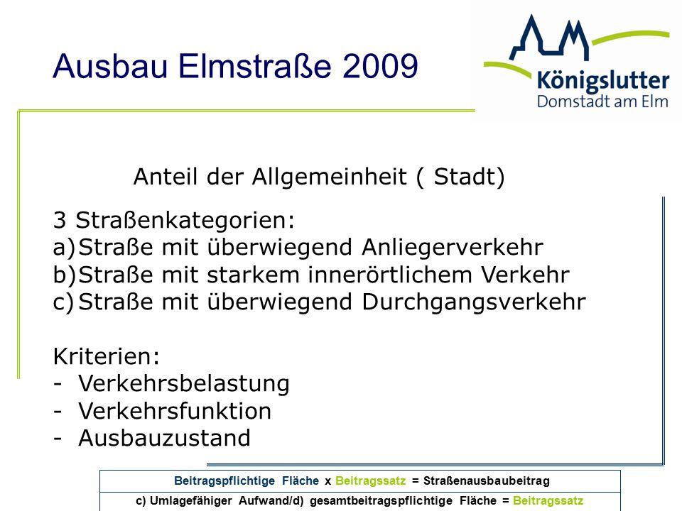 Beitragspflichtige Fläche x Beitragssatz = Straßenausbaubeitrag