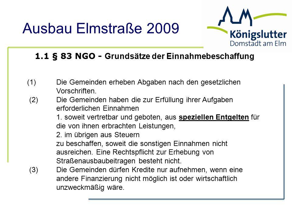 1.1 § 83 NGO - Grundsätze der Einnahmebeschaffung