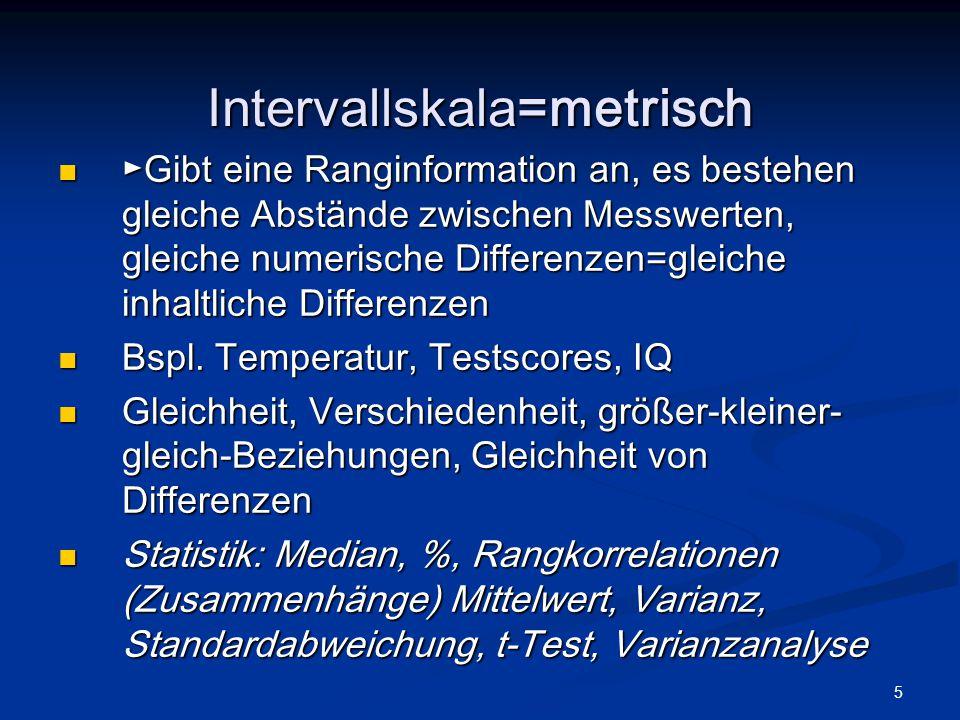 Intervallskala=metrisch