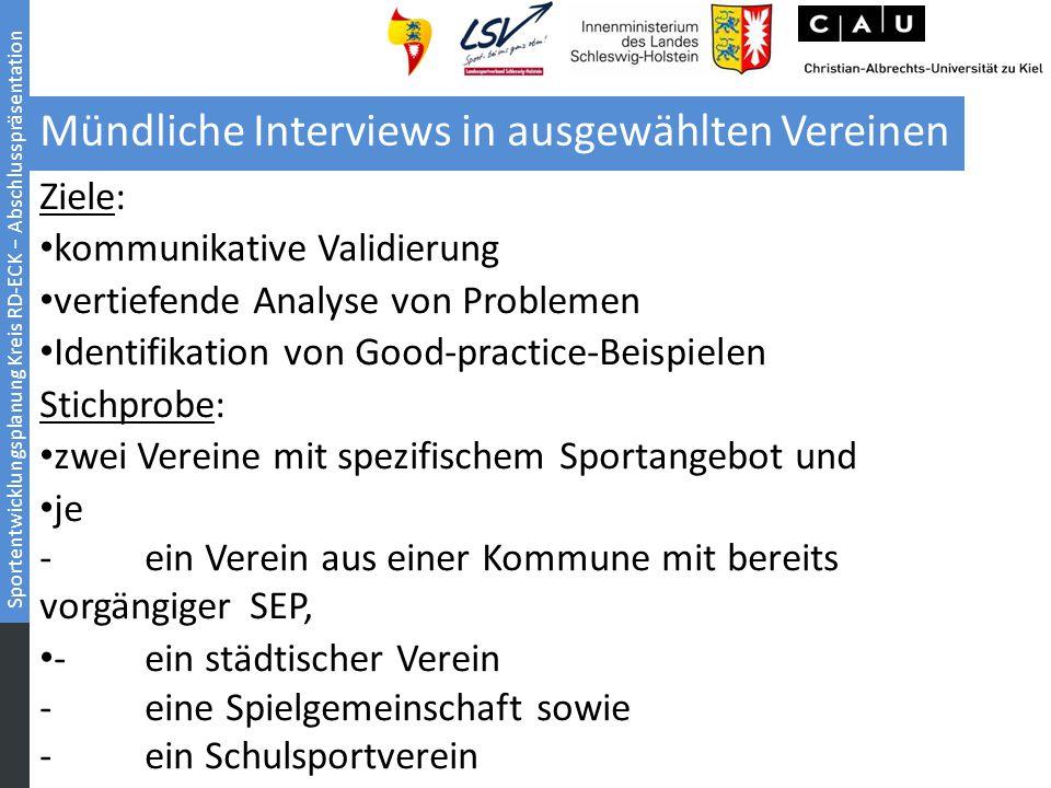 Mündliche Interviews in ausgewählten Vereinen