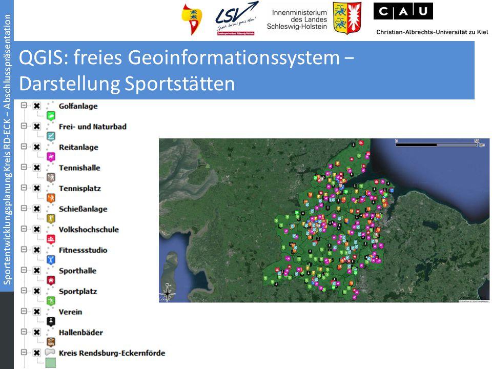 QGIS: freies Geoinformationssystem − Darstellung Sportstätten