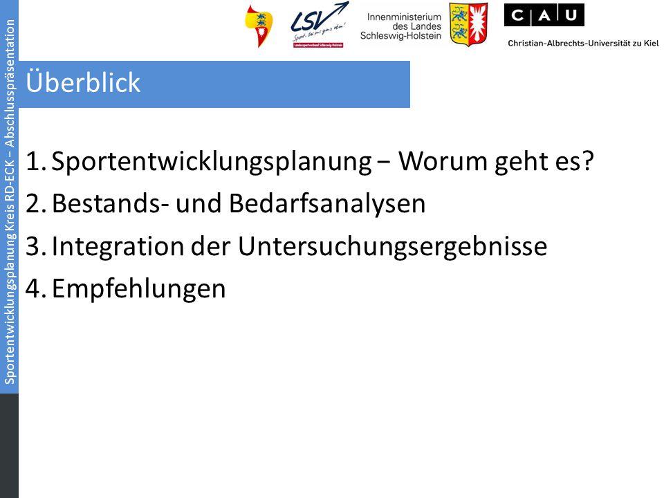 Überblick Sportentwicklungsplanung − Worum geht es Bestands- und Bedarfsanalysen. Integration der Untersuchungsergebnisse.