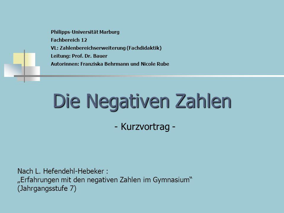 Die Negativen Zahlen - Kurzvortrag -