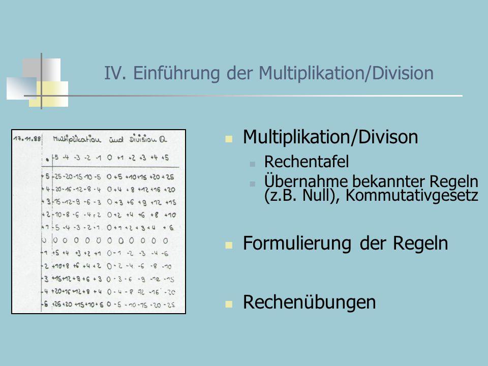 IV. Einführung der Multiplikation/Division