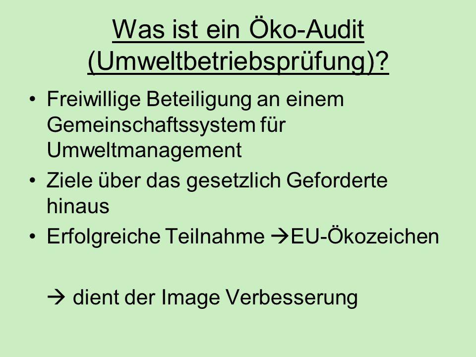 Was ist ein Öko-Audit (Umweltbetriebsprüfung)