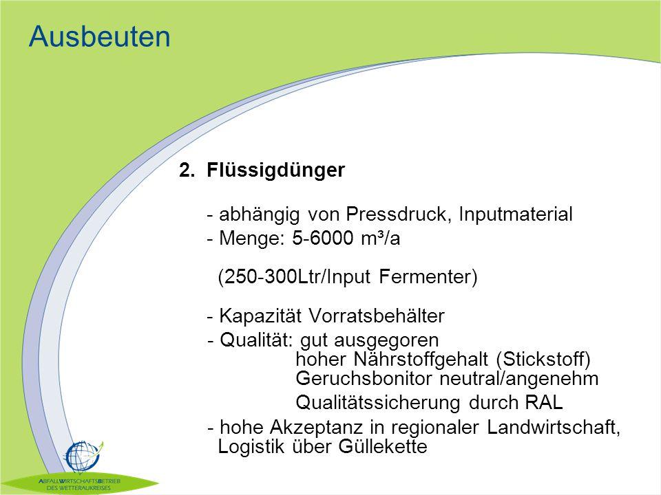 Ausbeuten Komposte: - Menge: 11.000 m³