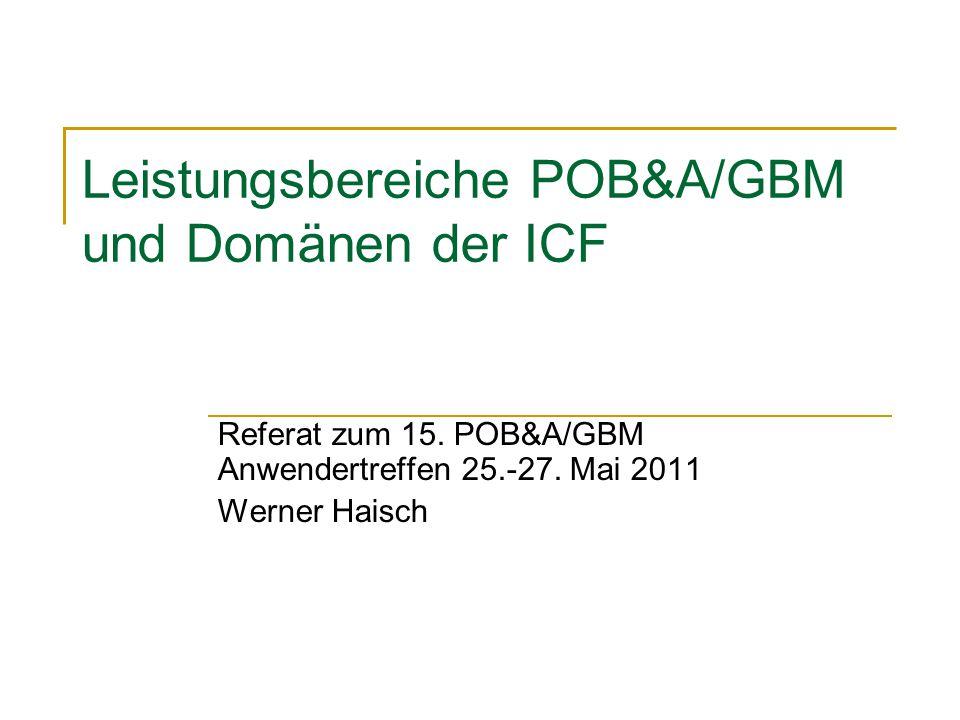 Leistungsbereiche POB&A/GBM und Domänen der ICF