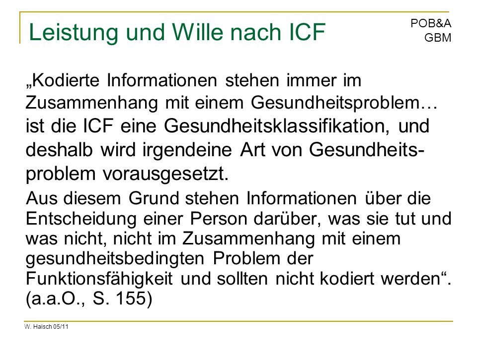 Leistung und Wille nach ICF