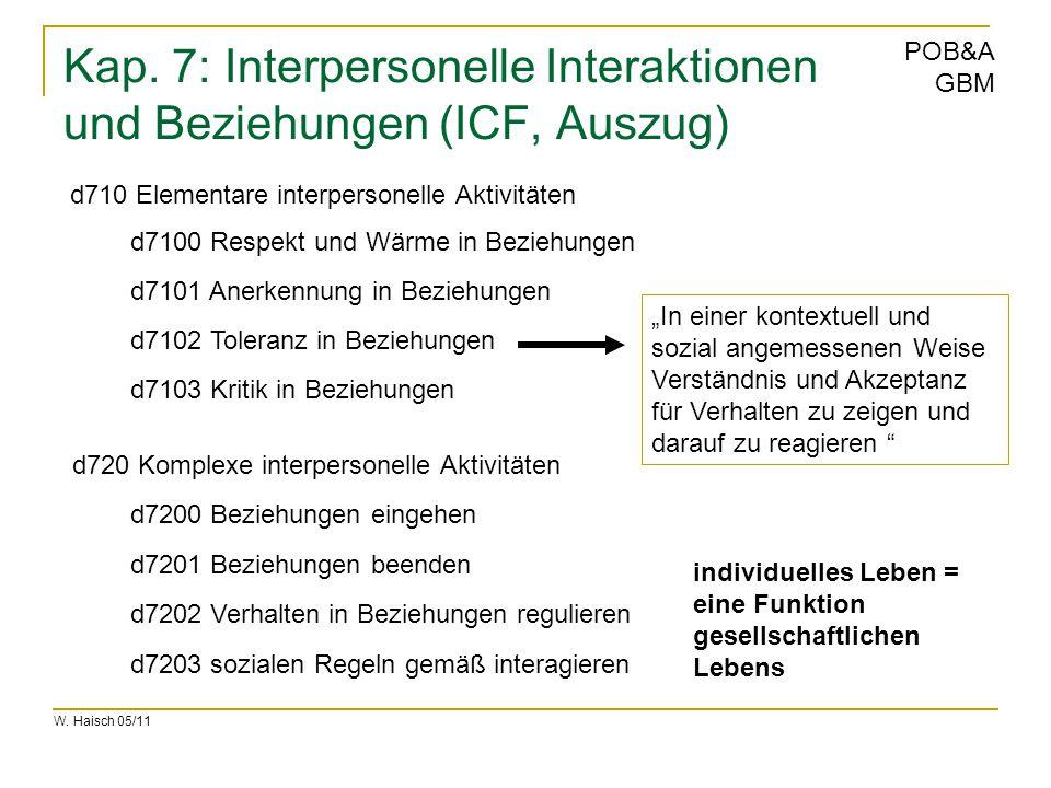 Kap. 7: Interpersonelle Interaktionen und Beziehungen (ICF, Auszug)