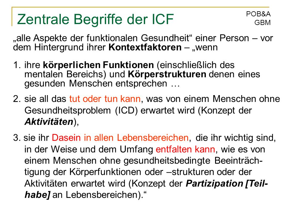 Zentrale Begriffe der ICF
