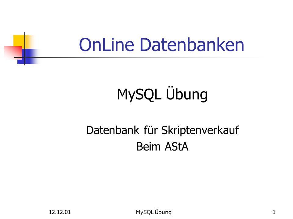 Datenbank für Skriptenverkauf