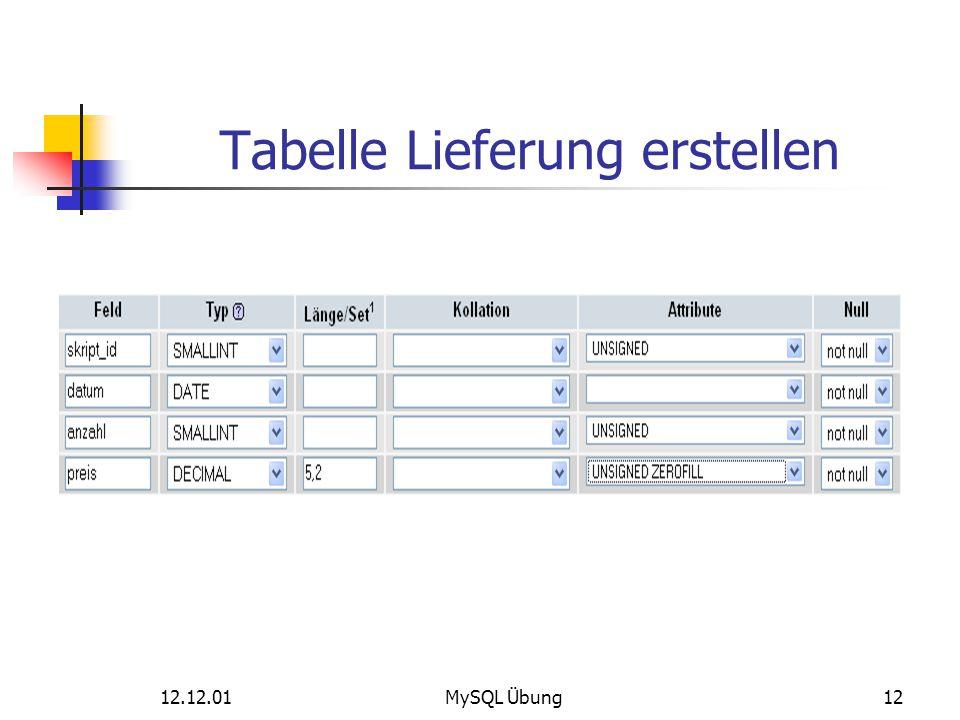 Tabelle Lieferung erstellen