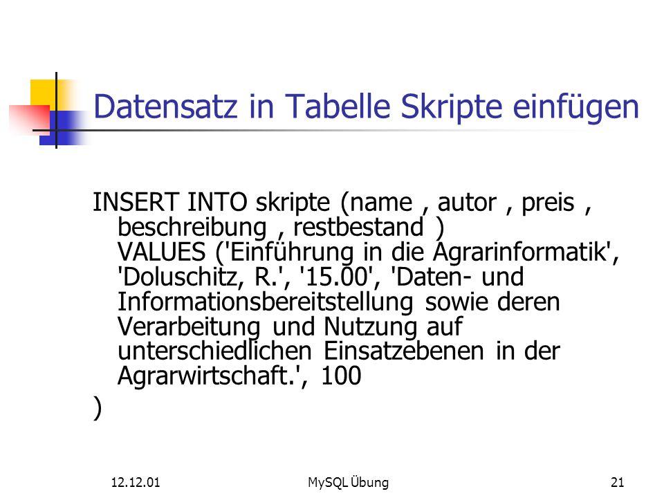 Datensatz in Tabelle Skripte einfügen