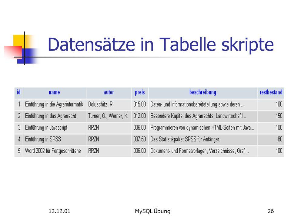 Datensätze in Tabelle skripte