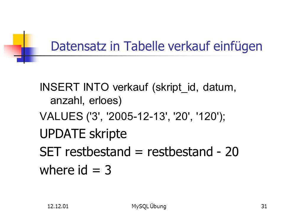 Datensatz in Tabelle verkauf einfügen