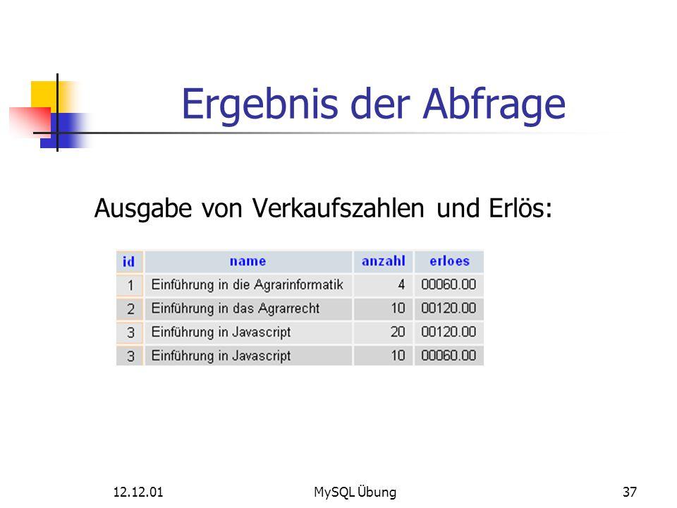 Ergebnis der Abfrage Ausgabe von Verkaufszahlen und Erlös: 12.12.01