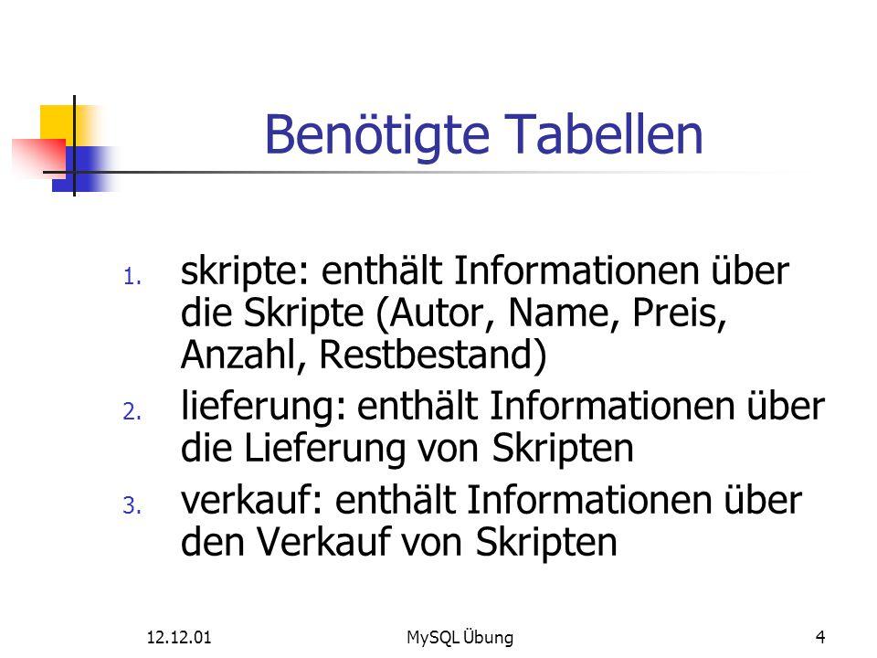 Benötigte Tabellen skripte: enthält Informationen über die Skripte (Autor, Name, Preis, Anzahl, Restbestand)