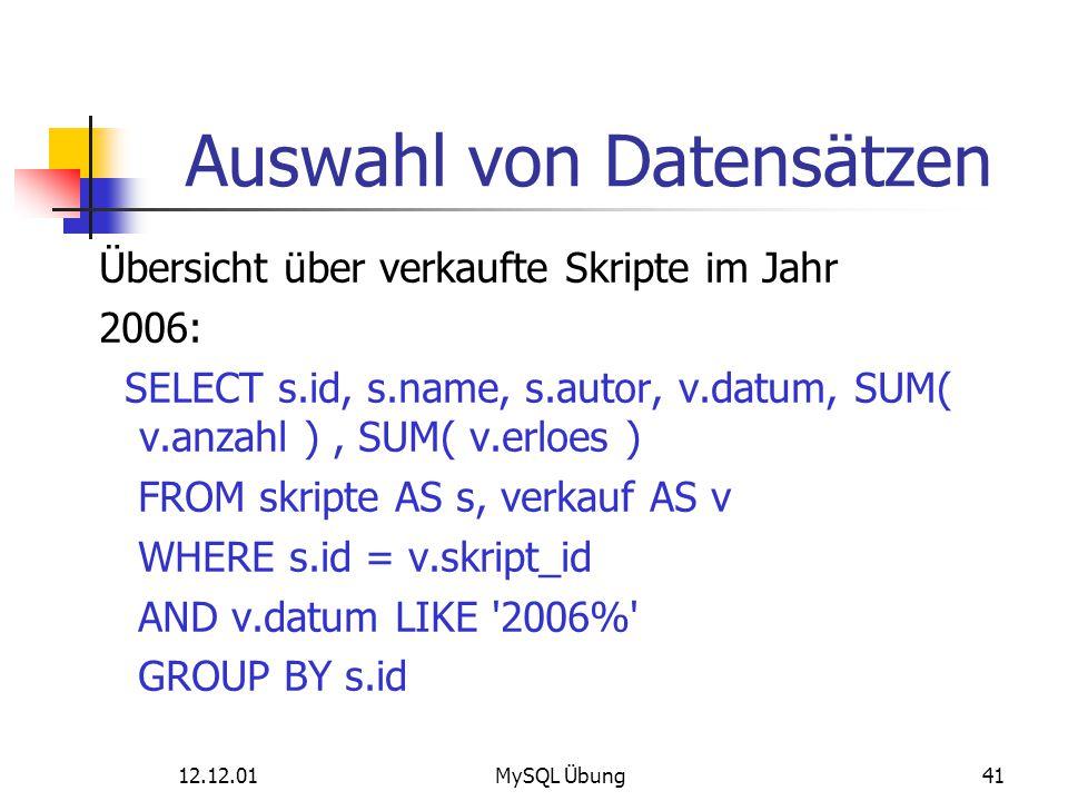 Auswahl von Datensätzen