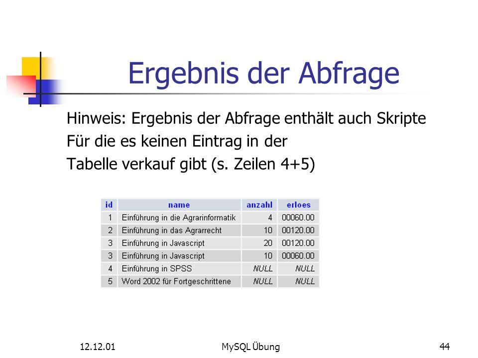Ergebnis der Abfrage Hinweis: Ergebnis der Abfrage enthält auch Skripte. Für die es keinen Eintrag in der.