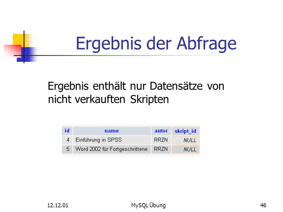 Ergebnis der Abfrage Ergebnis enthält nur Datensätze von nicht verkauften Skripten.