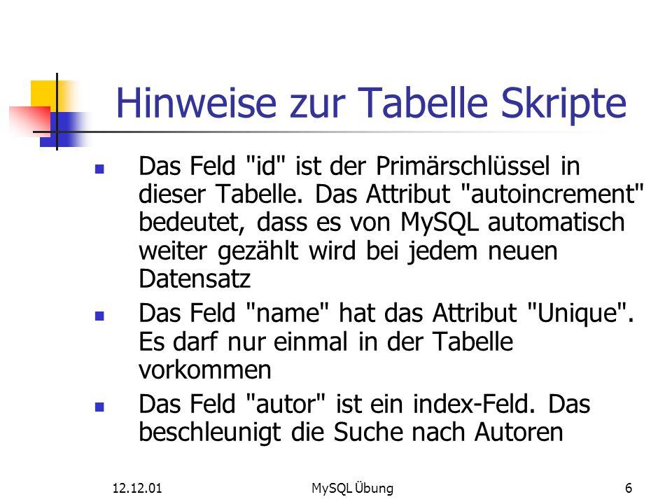 Hinweise zur Tabelle Skripte
