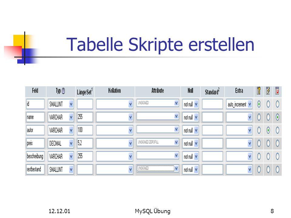 Tabelle Skripte erstellen