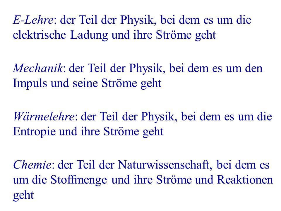 E-Lehre: der Teil der Physik, bei dem es um die