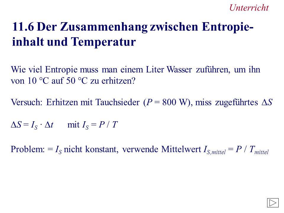 11.6 Der Zusammenhang zwischen Entropie- inhalt und Temperatur