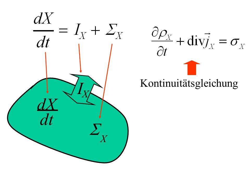 I X S X dX dt Kontinuitätsgleichung