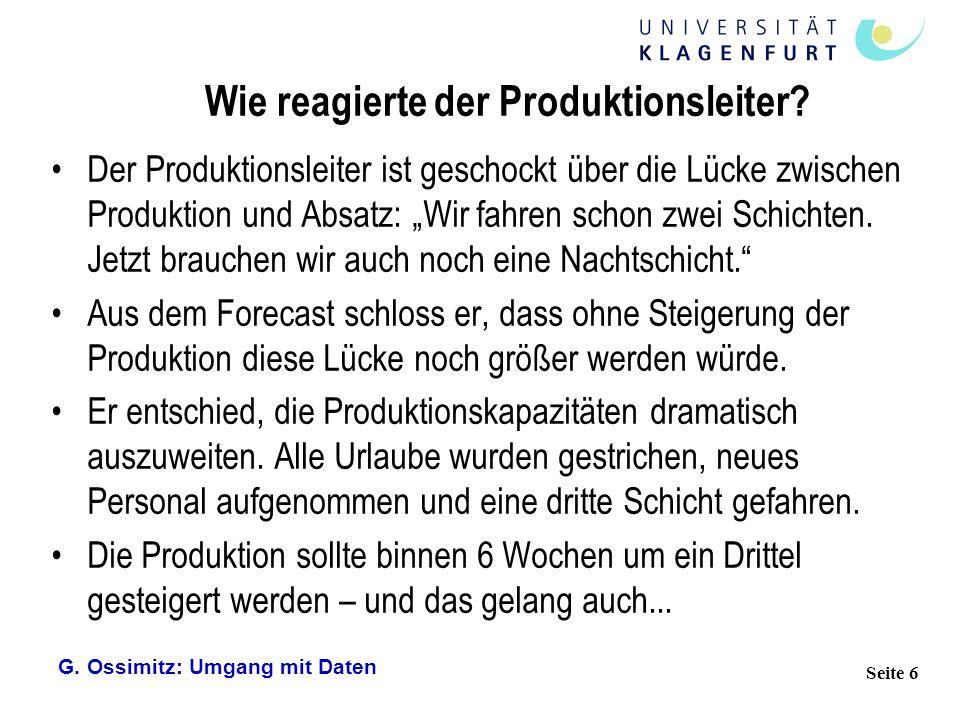 Wie reagierte der Produktionsleiter