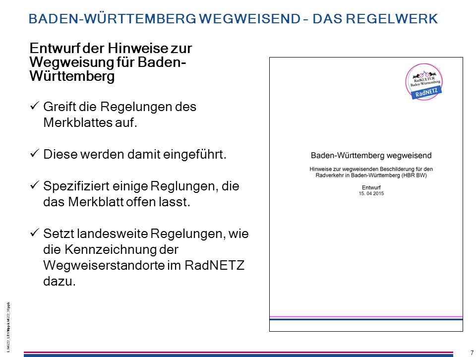 Entwurf der Hinweise zur Wegweisung für Baden-Württemberg