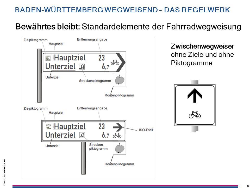 Bewährtes bleibt: Standardelemente der Fahrradwegweisung
