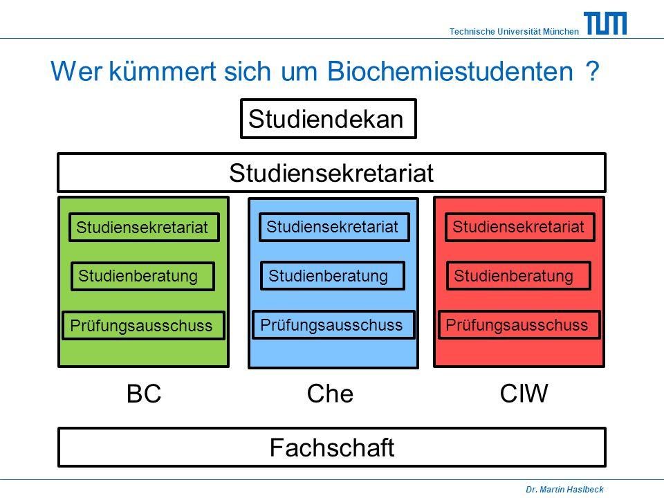 Wer kümmert sich um Biochemiestudenten