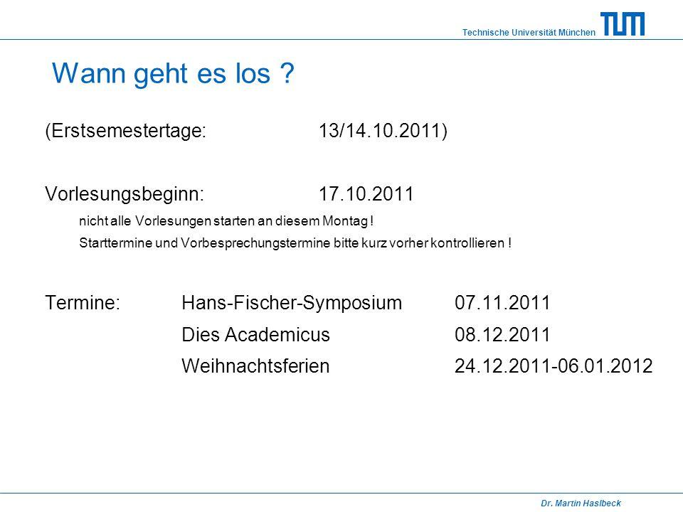 Wann geht es los (Erstsemestertage: 13/14.10.2011)