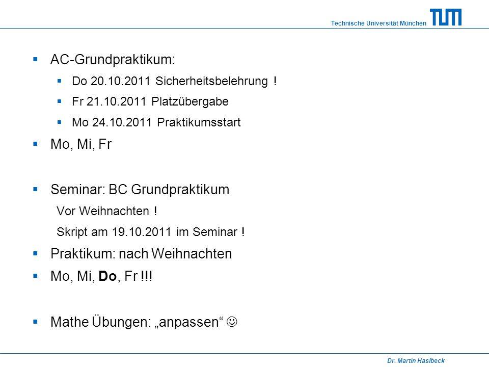 Seminar: BC Grundpraktikum