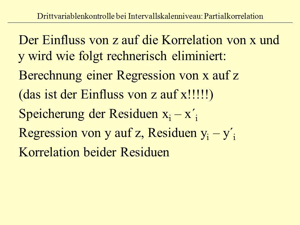 Drittvariablenkontrolle bei Intervallskalenniveau: Partialkorrelation