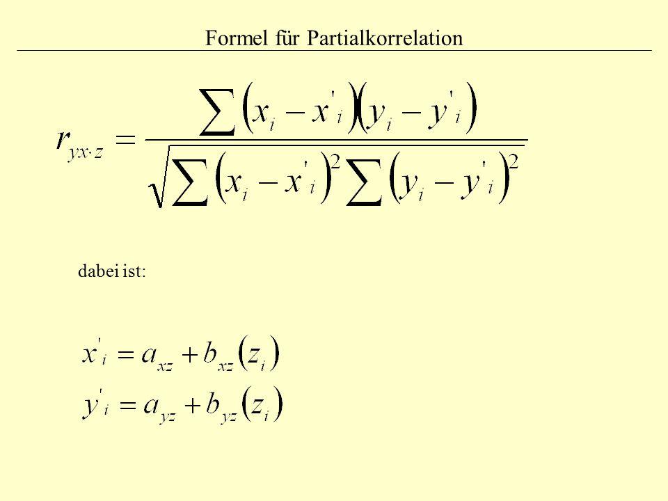 Formel für Partialkorrelation
