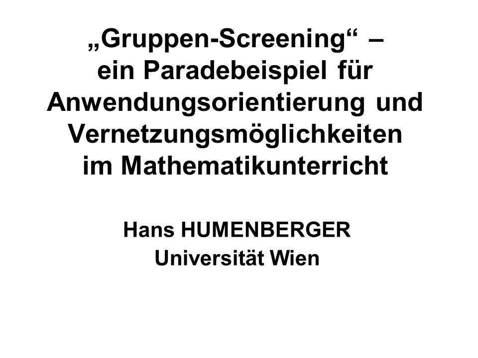 Hans HUMENBERGER Universität Wien