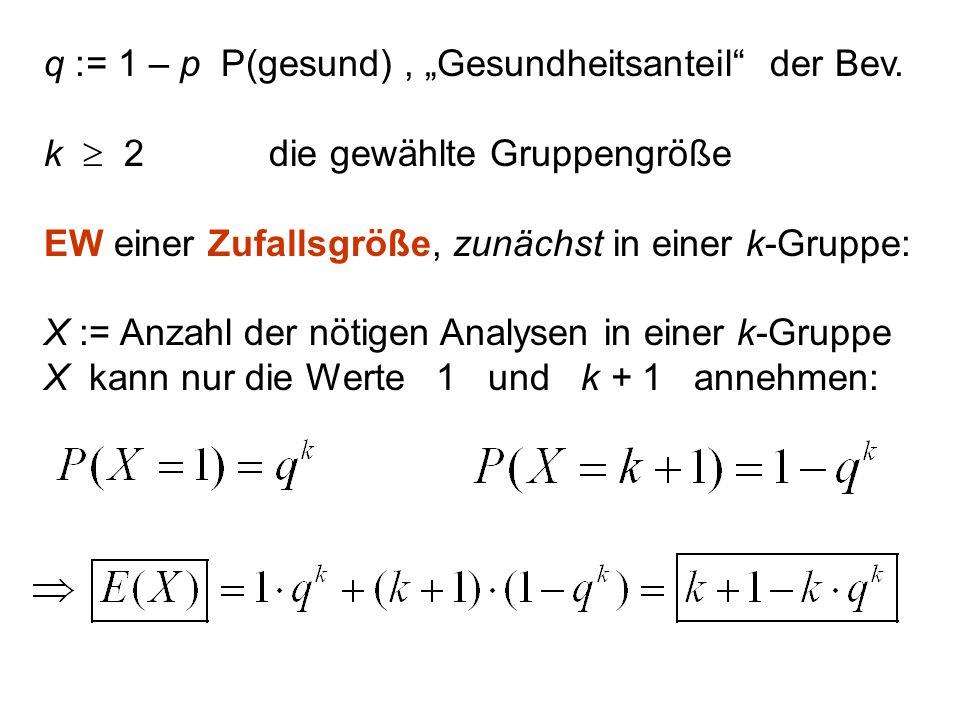 """q := 1 – p P(gesund) , """"Gesundheitsanteil der Bev."""