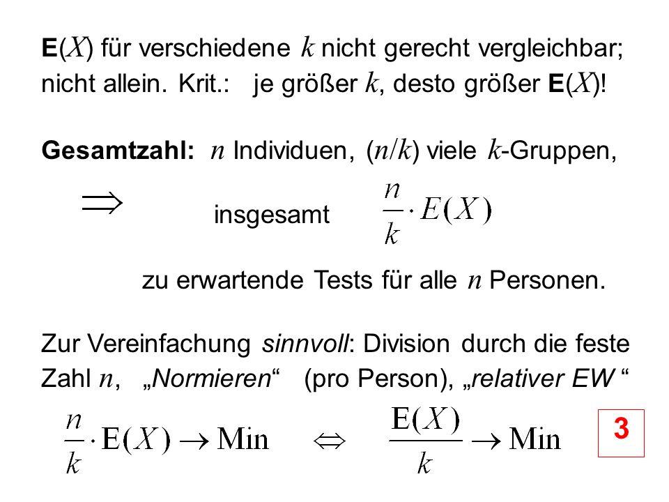 Gesamtzahl: n Individuen, (n/k) viele k-Gruppen, insgesamt