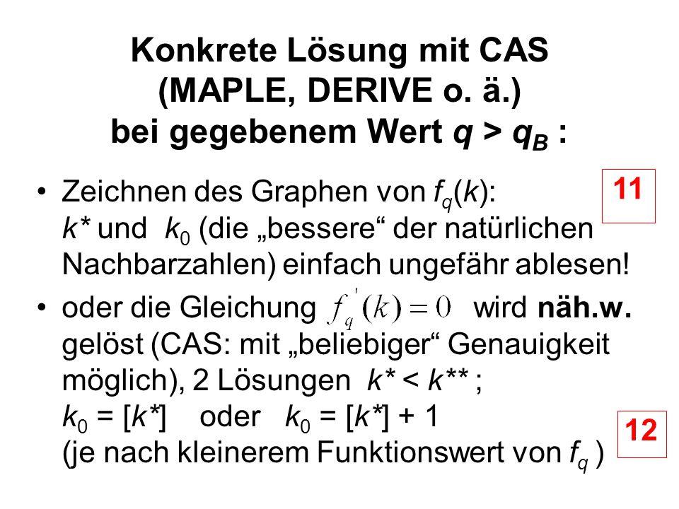 Konkrete Lösung mit CAS (MAPLE, DERIVE o. ä