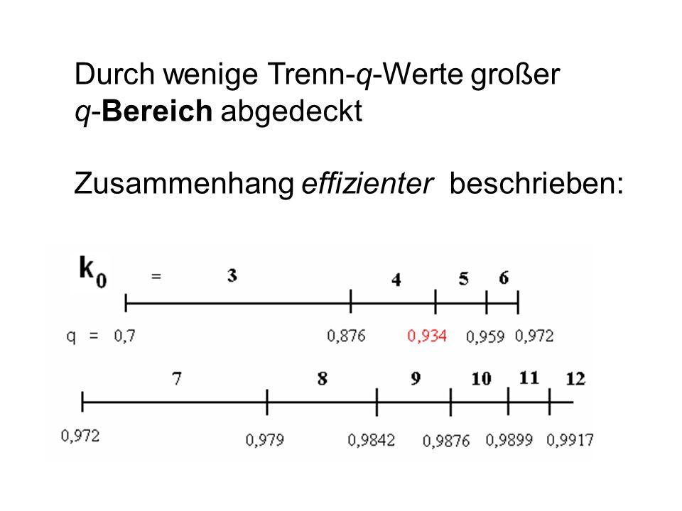 Durch wenige Trenn-q-Werte großer q-Bereich abgedeckt Zusammenhang effizienter beschrieben: