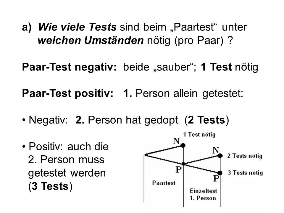 """a) Wie viele Tests sind beim """"Paartest unter welchen Umständen nötig (pro Paar)"""