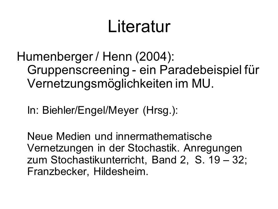 Literatur Humenberger / Henn (2004): Gruppenscreening - ein Paradebeispiel für Vernetzungsmöglichkeiten im MU.