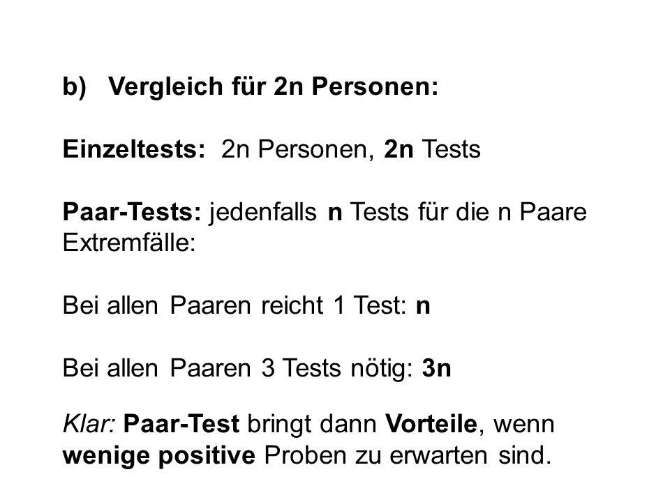 b) Vergleich für 2n Personen: Einzeltests: 2n Personen, 2n Tests