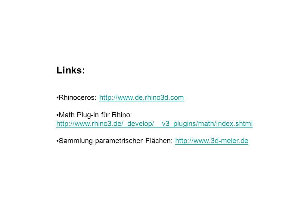 Links: Rhinoceros: http://www.de.rhino3d.com Math Plug-in für Rhino: