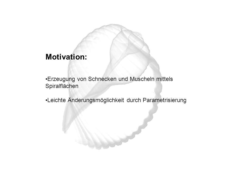 Motivation: Erzeugung von Schnecken und Muscheln mittels Spiralflächen