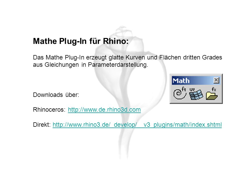 Mathe Plug-In für Rhino: