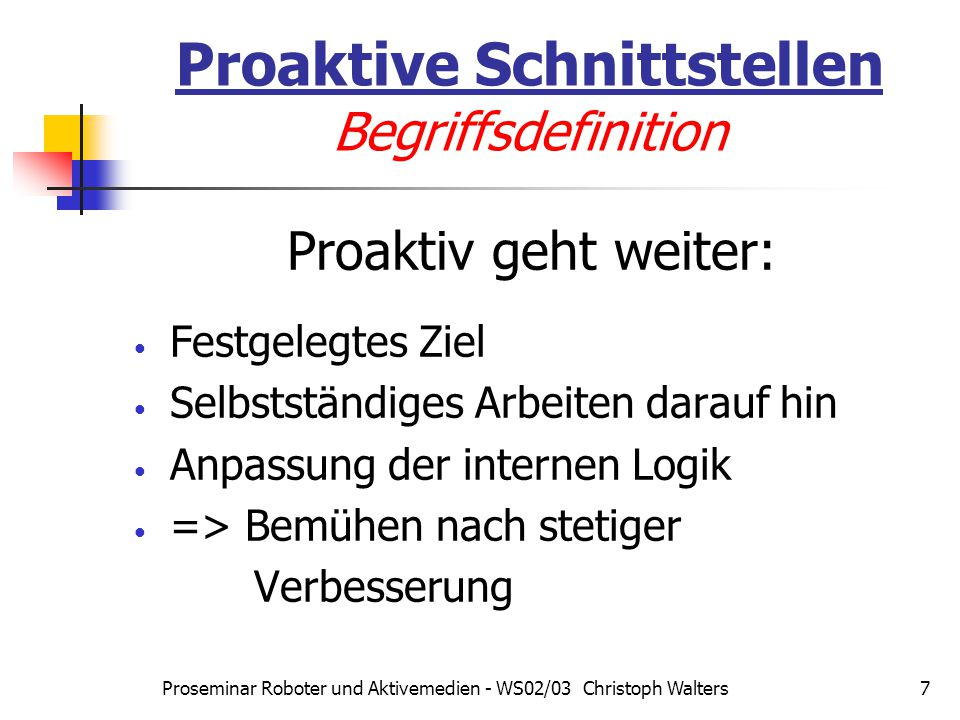 Proaktive Schnittstellen Begriffsdefinition